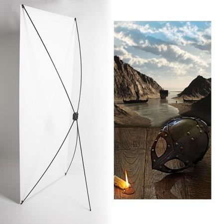 Kakemono Casque vikings - 180 x 80 cm - Toile M1 avec structure  X- Banner