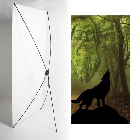 Kakemono loup foret vikings - 180 x 80 cm - Toile M1 avec structure  X- Banner