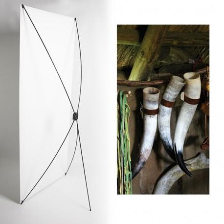 Kakemono cornes vikings - 180 x 80 cm - Toile M1 avec structure  X- Banner