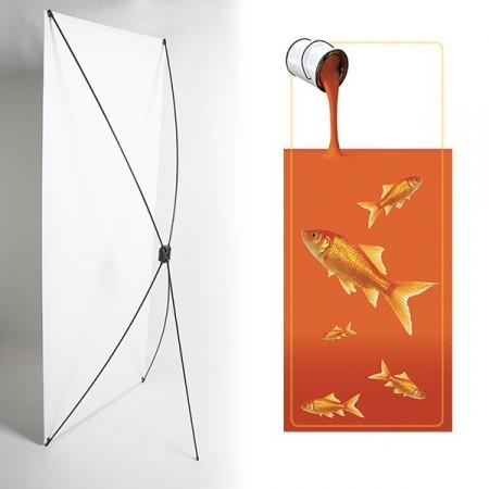 Kakemono poisson orange - 180 x 80 cm - Toile M1 avec structure  X- Banner