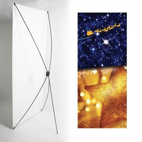 Kakemono étoile de noel - 180 x 80 cm - Toile M1 avec structure  X- Banner