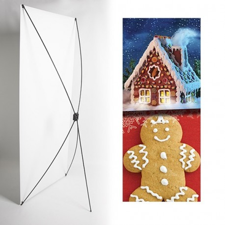 Kakemono pain d'épice noel - 180 x 80 cm - Toile M1 avec structure  X- Banner