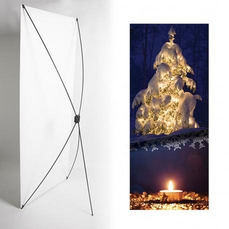 Kakemono Noel sapin - 180 x 80 cm - Toile M1 avec structure  X- Banner