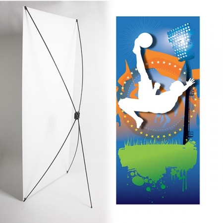 Kakémono FOOT 80 x 180 - Toile M1 / X Banner - Joueur / Retourné