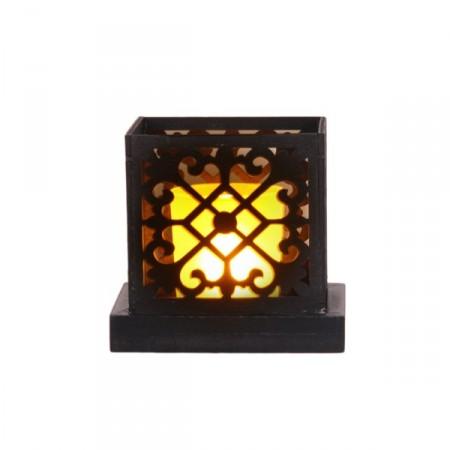 Petite lampe orientale avec photophore électronique - Bois - 11 x 10 x 9cm