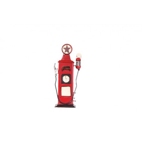 Pompe à essence rouge - métal - H. 44cm