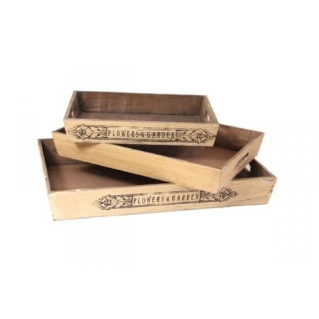 3 plateaux gigognes - Bois - 50-32 / 41-29 / 33-24cm