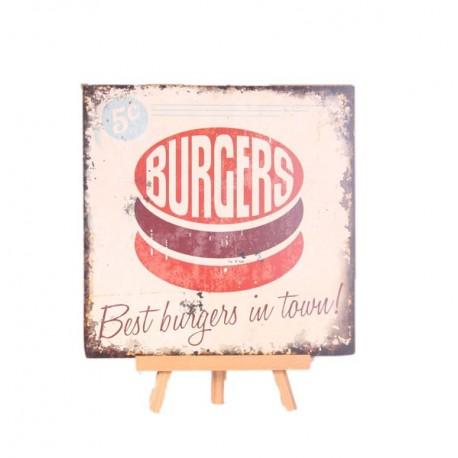 Plaque en bois BURGER - 30 x 30cm