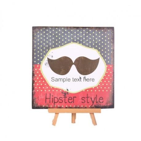 Plaque en bois TEX MEX Hipster Style - 30 x 30cm