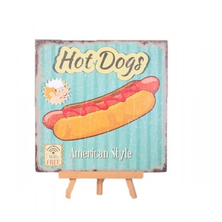 Plaque en bois HOT DOG - 30 x 30cm