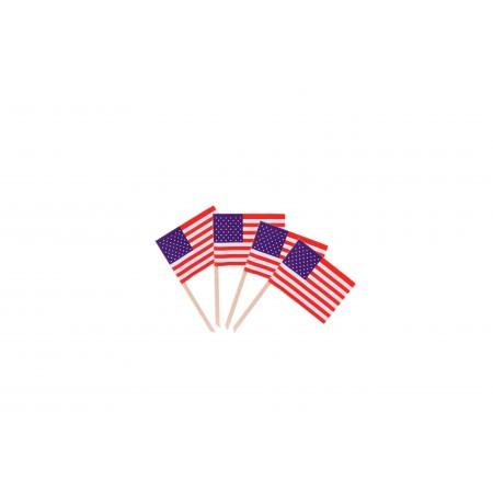 Drapeaux mini USA  x 50 - papier - 3.5 x 2.5 cm (pic en bois de 6.5 cm)