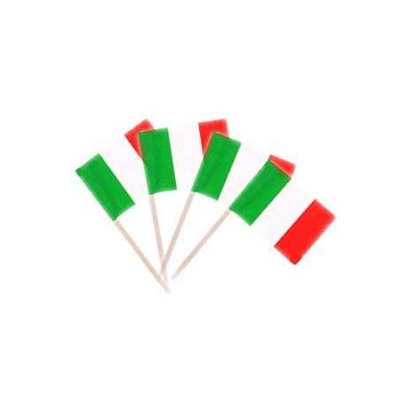 Drapeaux mini Italie x 50 - papier - 3.5 x 2.5 cm (pic en bois de 6.5 cm)