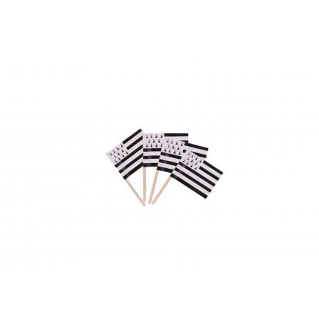 Drapeaux mini Bretagne x 50 - papier-3.5 x 2.5 cm (pic en bois de 6.5 )