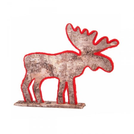 renne naturel/rouge 24x5.5xh22 cm