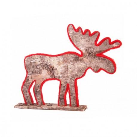 renne naturel/rouge 52x5.5xh41 cm