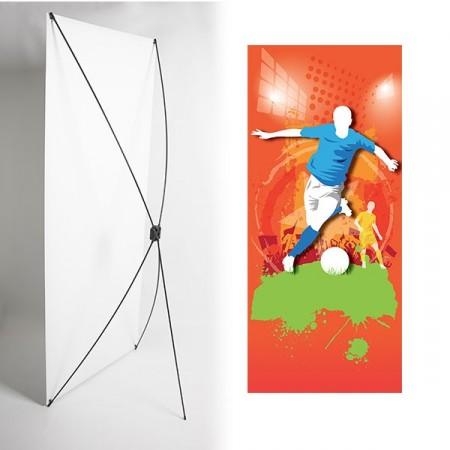 Kakémono FOOT 80 x 180 - Toile M1 / X Banner - Joueur bleu