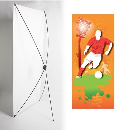 Kakémono FOOT 80 x 180 - Toile M1 / X Banner - Joueur rouge