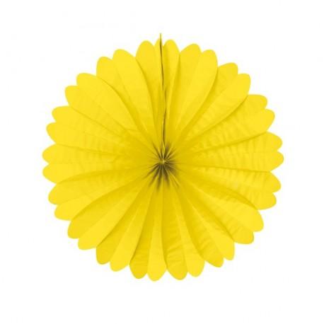Eventail jaune - papier - Diam. 50 cm*
