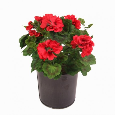 Geranium artificiel en pot haut : 40 cm