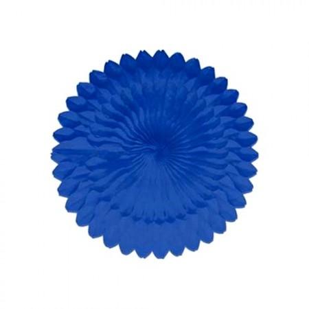 Eventail bleu fonce - papier - Diam. 50 cm*