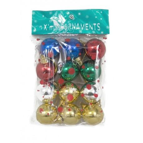 Sachet de 12 boules brillantes ø 4 cm en assortiment de couleurs