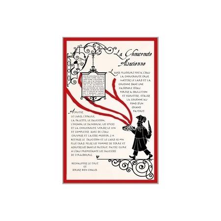 Tissu Imprimé  Choucroute Alsacienne  - Coton - 48 x 72 cm