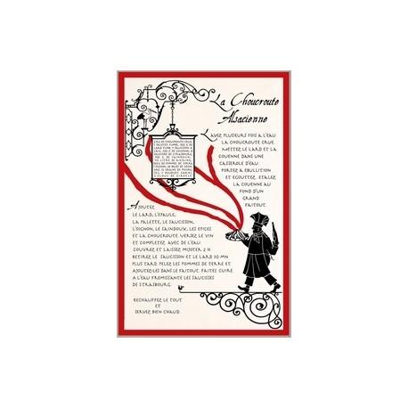 """Tissu Imprimé """" Choucroute Alsacienne """" - Coton - 48 x 72 cm"""