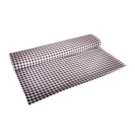 Tissu Vichy noir - Larg. 150cm - Coupe de 2m