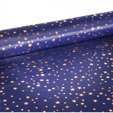 Tissu Jupiter  Bleu étoiles OR  - Larg. 150cm  (vendu au mètre)