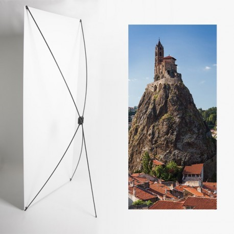 Kakemono Auvergne Chapelle - 180 x 80 cm - Toile M1 avec structure  X- Banner