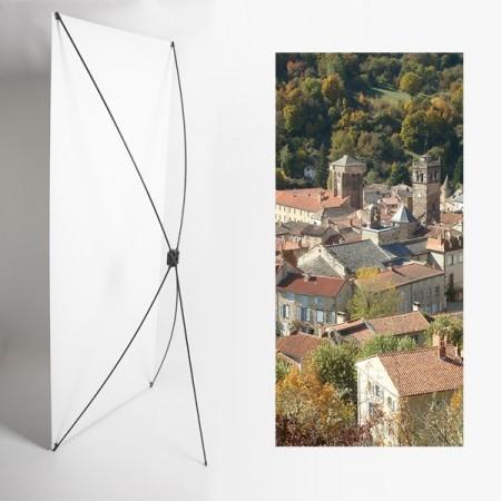 Kakemono Auvergne Village - 180 x 80 cm - Toile M1 avec structure  X- Banner