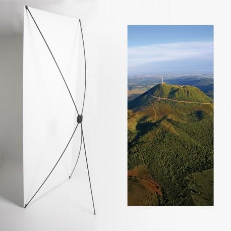 Kakemono Auvergne Volcan - 180 x 80 cm - Toile M1 avec structure  X- Banner