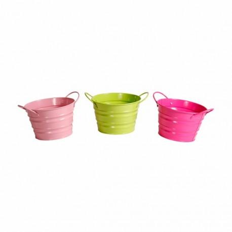 Pots en metal x 3 - assortiment de couleurs - Haut 10 cm diam 15 cm