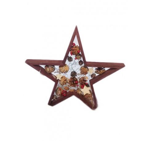 Etoile de NOEL avec étoiles et pommes de pin - 35 x 4cm