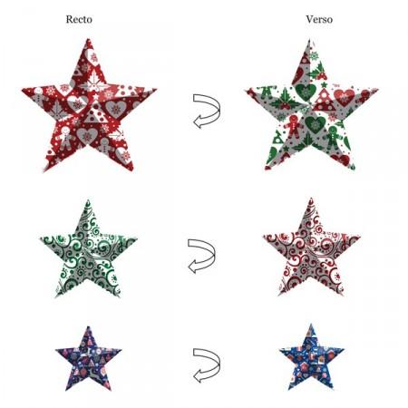 Etoiles de Noël x 3 motifs - carton RV - 40 / 30 / 20 cm