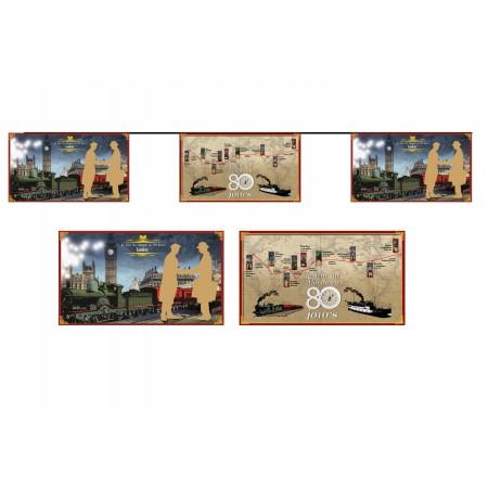 Guirlande Tour du Monde en 80 jours- 10 fanions 17 x 30 cm - papier - Long.520cm