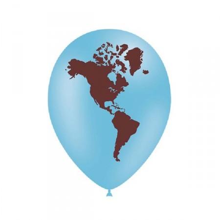 Ballons Mappemonde x12  diam 28 cm