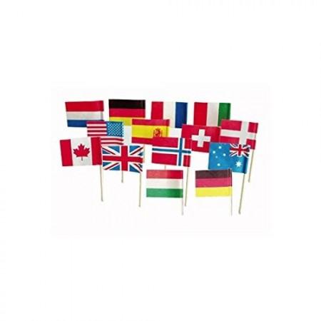 Mini drapeaux du monde x 144 - 3.5 x 2.5 cm (pic en bois de 6.5 cm)