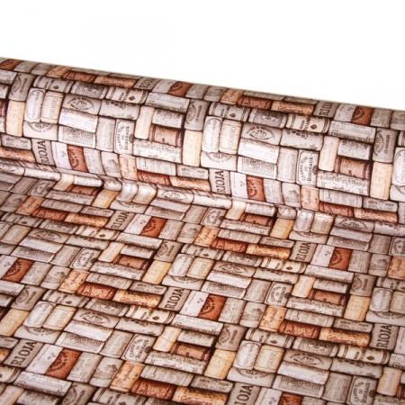 Tissu motifs bouchons   - coton  - Larg. 140 cm   (vendu au mètre)