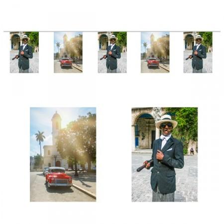 Guirlande Cuba  - 10 fanions 20 x 30 cm - papier - Long.420cm