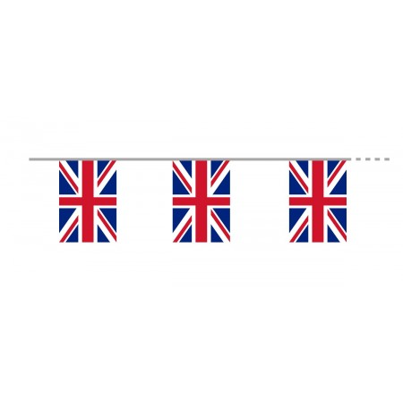 Guirlande Royaume Uni - 12 fanions 15 x 21cm -  tissu - Long. 400cm