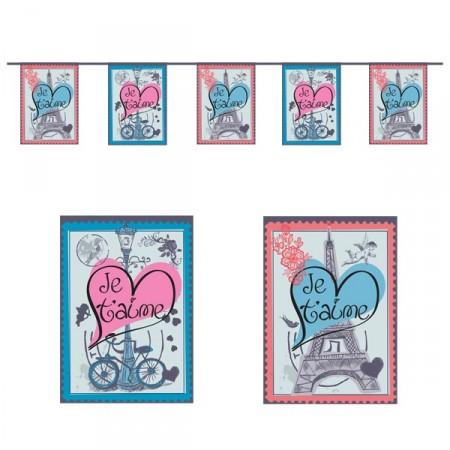 Guirlande St Valentin - 10 fanions 20 x 30 cm - papier - Long.420cm
