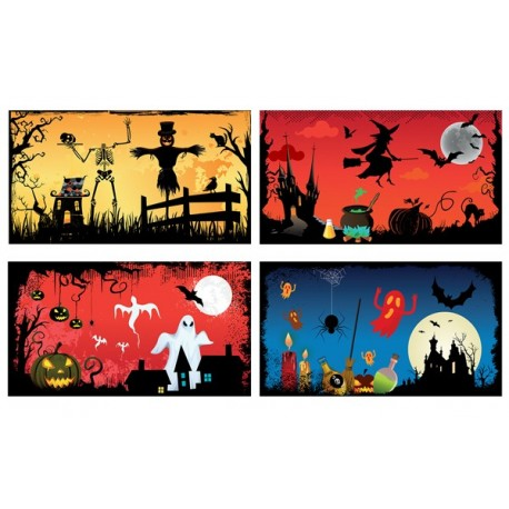 Mobiles Halloween x 4 - carton - 27 x 49 cm