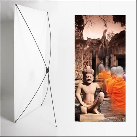 Kakemono Asie Statuette - 180 x 80 cm - Toile M1 avec structure  X- Banner