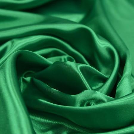 Tissu satin vert - Larg. 140cm    (vendu au mètre)