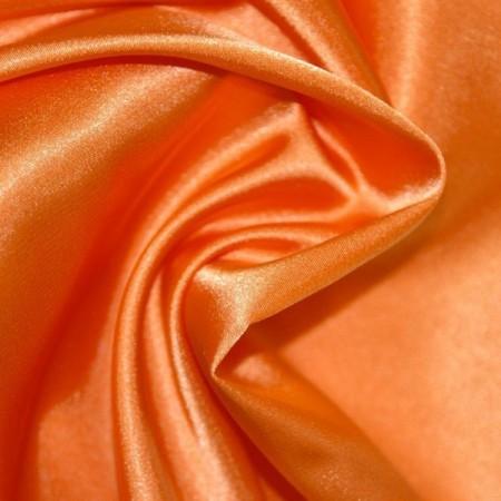 Tissu Satin Orange - Larg. 150cm  (vendu au mètre)