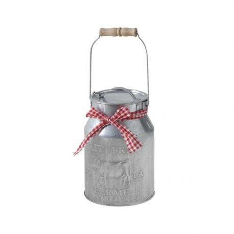 Bidon de lait - zinc - H. 17 cm/ Diam. 11 cm