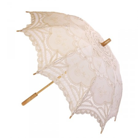 Ombrelle Rétro avec dentelle - bois et tissu - Diam 78 cm