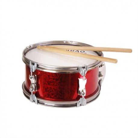 Tambour de fanfare - paillettes rouges - Diam 27cm hauteur 14 cm