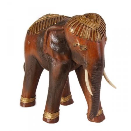 Eléphant en bois - Trompe en bas - 23 x 22 x 10 cm